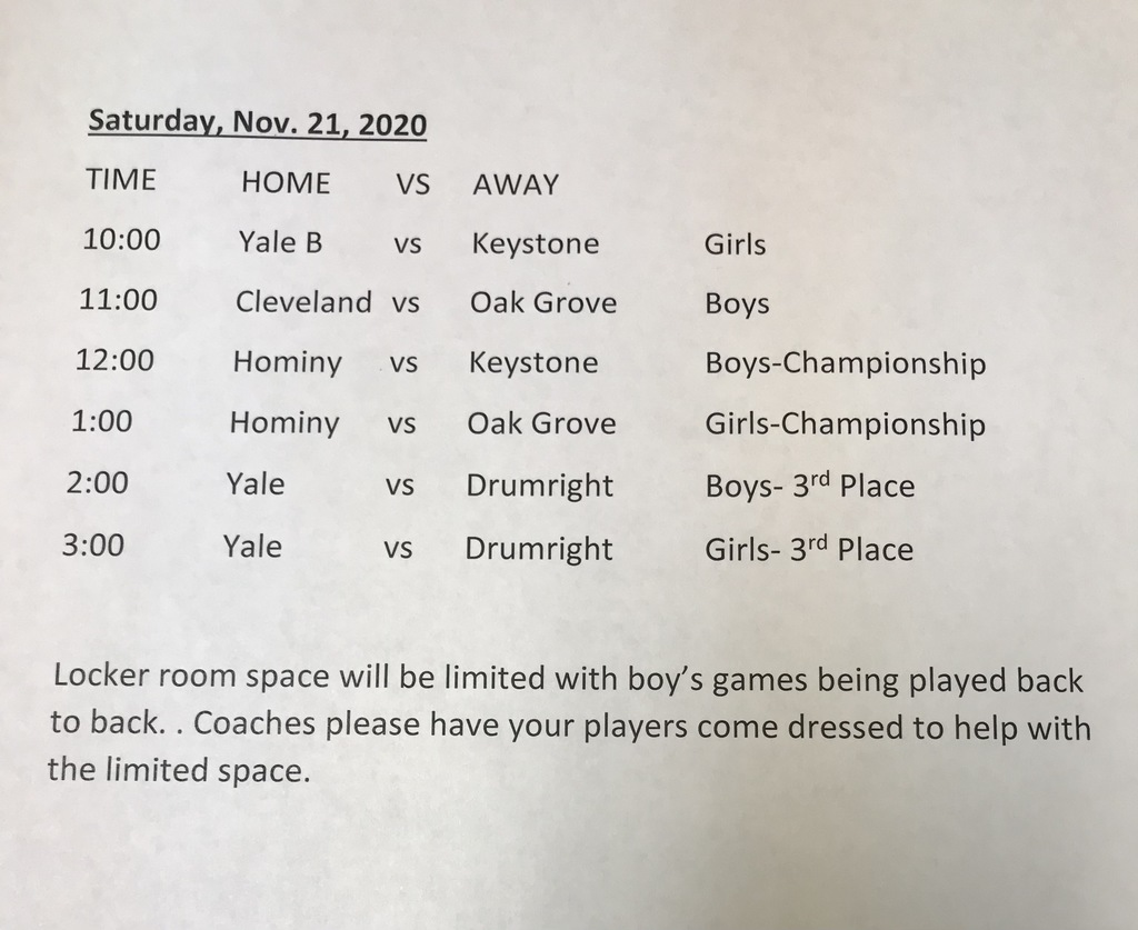 JH Tournament Schedule for Saturday, Novermber 21 , 2020
