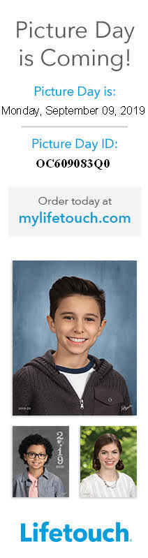 Flyer that says - school picture day is coming Monday, September 9, 2019. Picture day ID OC609083Q0. Order today at mylifetouch.com