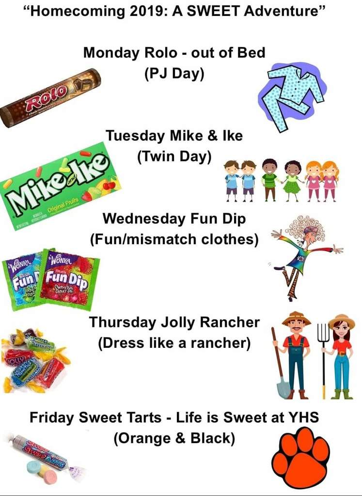 Homecoming spirit days flier. Monday PJs, Tuesday twins, Wednesday mismatched, Thursday rancher, Friday orange & black
