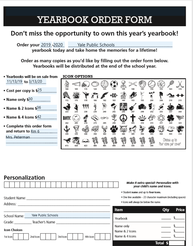 screenshot of yearbook pre-order form