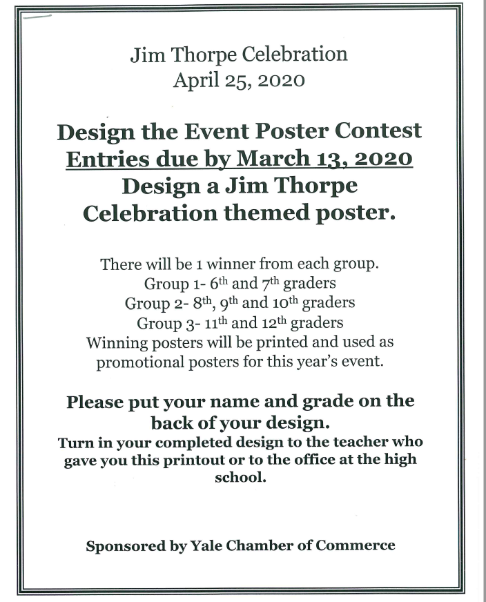 JIm Thorpe Poster Contest 2020 flier - celebration April 25, entries due March 13.