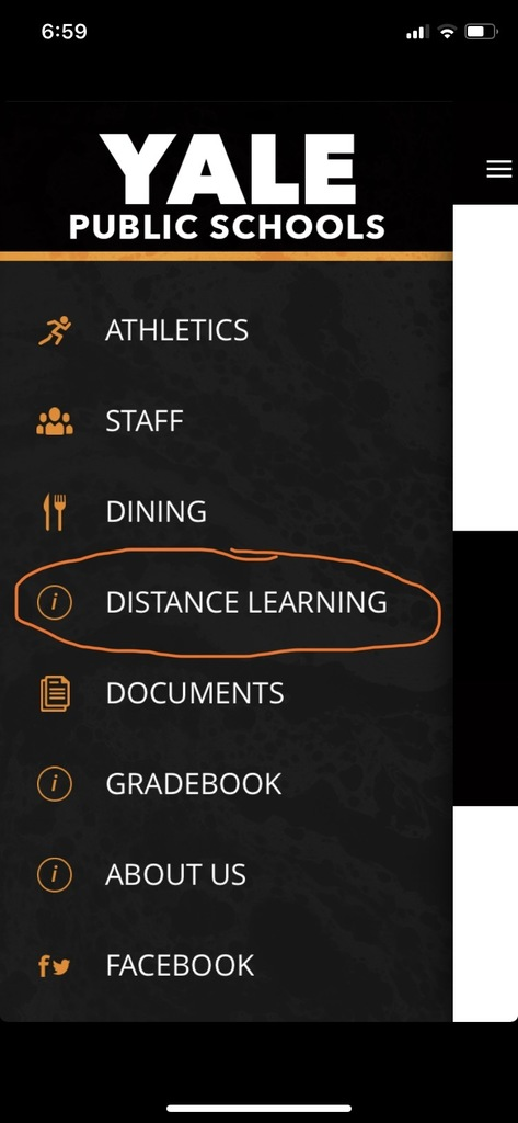 screenshot of YPS app menu with distance learning option circled