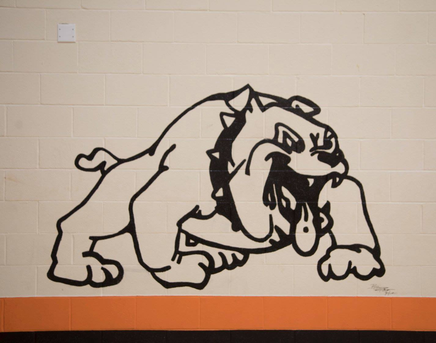 Bulldog logo mural in Homer Ray Gymnasium